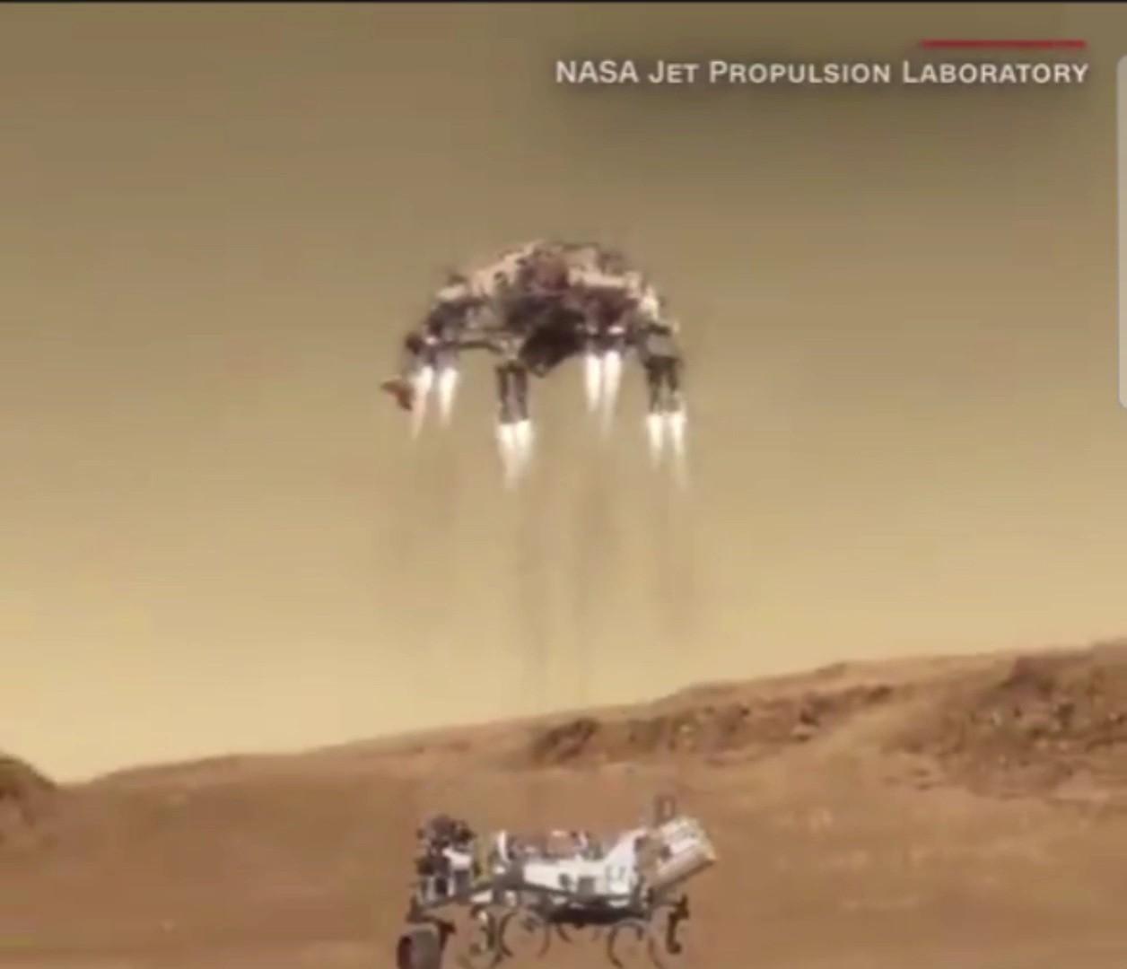 مركبة الفضاء «برسيفيرانس»قبيل الهبوط على سطح المريخ