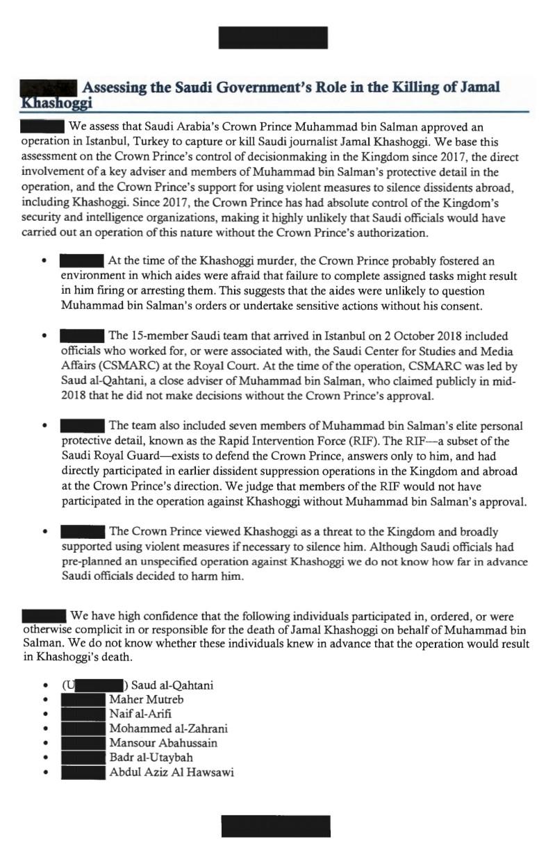 إضاءات  نص تقرير المخابرات الأميركية حول جريمة قتل خاشقجي