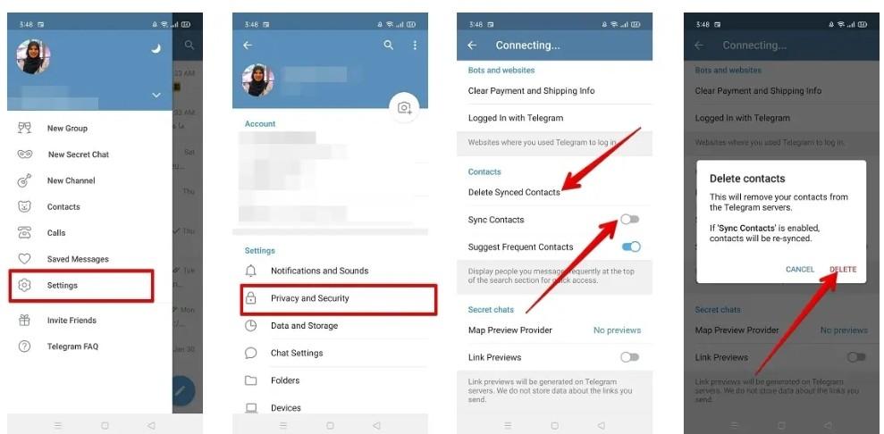 كيفية إيقاف مشاركة جهات الاتصال مع تطبيق تيليجرام في أندرويد: